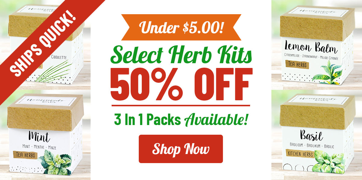 50% OFF Herb Gardens & Kits!